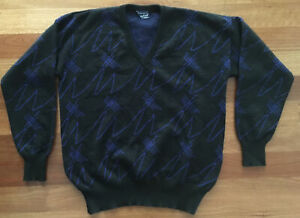 Vintage retro Resaknit Mens Black blue 100% wool Knit Jumper Size 18 Sweater