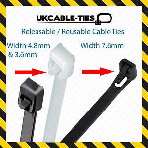 Releasable Cable Ties Reusable Black Natural Nylon Plastic Zip Tie Wraps