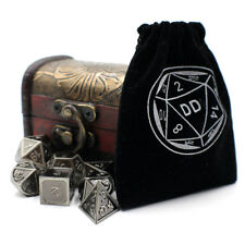 Silver Fantasy DnD Metal Dice Set with Storage Chest for Roleplaying Games