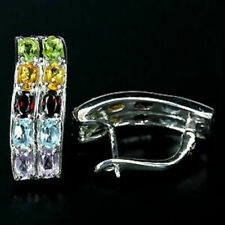 Sterling Silver Genuine Topaz Garnet Peridot Citrine Amethyst Earrings