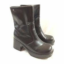 Sketchers Womens Size 6 Black Chunky Heel Faux Leather Boots Retro 90s Grunge