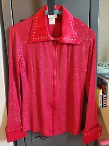 Stunning red Debbie Kay Western Show Shirt zip up crystals equitation pleasure
