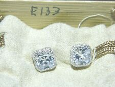 JTV Bella Luce® White SQUARE Stud Two Halo Earrings  Pouch / Box  NEW #E133