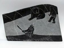 "IVU Vintage Inuit Artist Petroglyph Double Sided Carving Hunters 10"" x 7"""