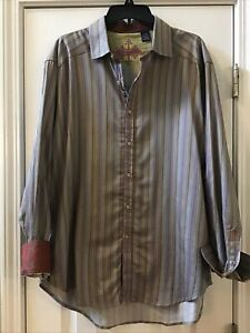 Robert Graham X-Large Purple Pink Striped Multi-Color Cuff Button Front Shirt