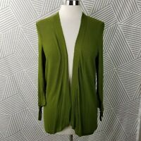 Ann Taylor Size Large Petite Open Front Cardigan Sweater Drape Career Army Green