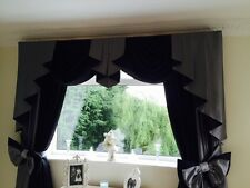 DESIGNER CURTAINS SWAGS & TAILS SILVER GREY /BLACK NEW