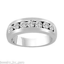 MEN'S WEDDING & ANNIVERSARY DIAMOND BAND14K WHITE GOLD 0.79 CARAT 7 STONE 6 MM