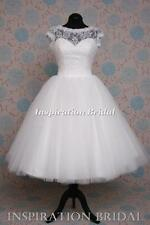 Uk 1374 short wedding dress bridal gown skirt tulle lace tea length knee beach