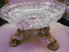 STUNNING BRONZE AND CRYSTAL CENTERPIECE WITH APPLIED CRYSTAL ROSETTES