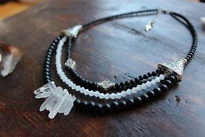 Gorgeous Handmade 3 Layer Raw Crystal Quartz, Black &Silver Bead Charm Necklace