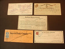 OLD CANADIAN CHECKS  some with stamps