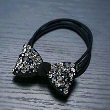 QUALITY Hair Rope Band use Swarovski Crystal Hairpin Ponytail Holder Bow Gray