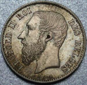 """1866 BELGIUM Gorgeous, CHOICE Silver """"FIFTY CENTIMES"""" Leopold II OWNED the CONGO"""