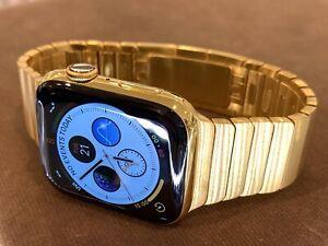 24K Gold Plated 45MM Apple Watch SERIES 7 DIAMOND POLISHED Link Band CUSTOM