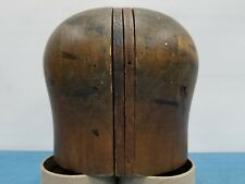 """Vtg Wood Wooden Hat Block Head Style Form Display Mold Millinery Size 19""""in #6"""