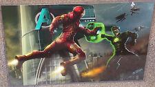 Iron Man vs Green Lantern Glossy Art Print 11 x 17 In Hard Plastic Sleeve