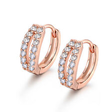 Hollow Leaf Design Rose Gold Filled Diamond Clear Topaz Huggies Women Earrings