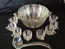 VINTAGE 15 pc DEW DROP Pattern Jeanette GLASS PUNCH BOWL SET W/13 CUPS