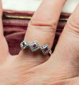 A Pretty Deco Design Ruby & Diamond Ring in Solid 9ct White Gold