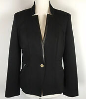 Anne Klein Womens Size XS Blazer Black Stretch Button Front Long Sleeve NWT