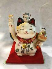 Lucky Cat Ornament White Calico Cat Chirimen collar F/S