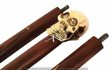 Nautical Vintage Brass skull Emboss Handle Walking Cane Wooden Designer Stick