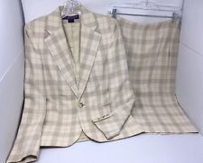RAPLH LAUREN Collection 100% Silk Yellow & Taupe Plaid Skirt Suit; Both Size 4