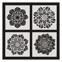 6 Pcs DIY Painting 30X30cm Vintage Flower Pattern Stencils Template for TilA3P6