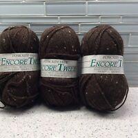 Plymouth Yarn Encore Tweed 599 Dark Brown Skeins Lot Of 3 Wool Acrylic Rayon