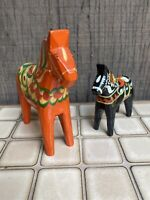 Two Vtg NILS OLSSON HANDPAINTED WOODEN DALA HORSE SWEDEN FOLK ART Orange Black