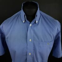 Lacoste Mens Vintage Shirt 40 (MEDIUM) Short Sleeve Blue Regular Check Gingham
