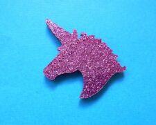 Cute Unicorn Head Brooch Badge Acrylic Shaped Glitter Purple Pin Mythical Horse