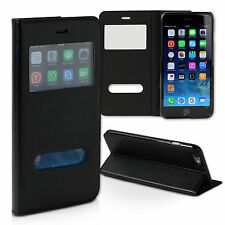CUSTODIA CELLULARE PER IPHONE 6 Nero Bookstyle finta pelle drachenleder ome100s