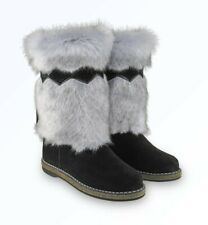 "Russian Women High Fur Boots ""UNTY"" Sheepskin Mukluks UGG Winter Snow Suede"