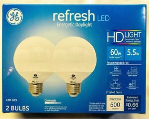 GE Refresh Dimmable LED Lightbulb, 60w / 500 Lumens, Frosted Globe, Energizing