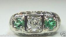 Antique Art Deco Emerald Diamond Three Stone Ring 14K White Gold Ring Size 5.75