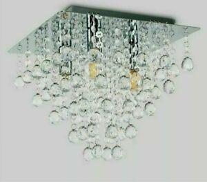 MiniSun Hesketh Square Flush Ceiling Light Chrome Acrylic Decoration RRP £90
