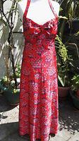 Halterneck Red Dress Abstract Design retro 1970 Vintage Clothing