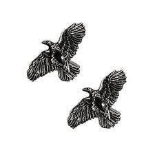 Restyle Silver Raven With Black Diamond Pair Of Witch Occult Hair Clips