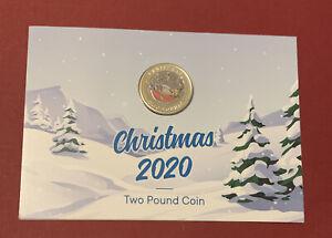 2020 Gibraltar Father Christmas £2 Coin Limited Edition  1000 BU Coloured Card *