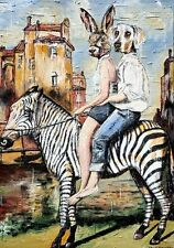 GILLIE AND MARC-direct from the artists- authentic artistic print zebra riders