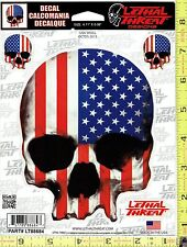 USA AMERICAN FLAG SKULL Vinyl Decal Side Rear Window Sticker Auto RV Truck 88684