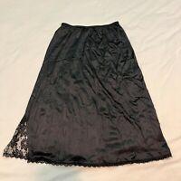 MAIDENFORM Black Nylon Half Slip Lace Hem Side Slit Style Medium