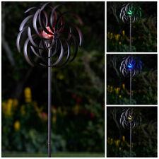 Solar Powered LED Wind Spinner Bronze Multi Colour Light Garden Ornament Stake