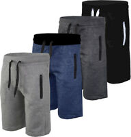Mens Plain Gym Fleece Jogger Shorts / 3/4 Elasticated waist Running Zip Pockets