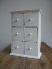 Schrank Shabby Weiß Teebox 26x16cm mit 6 Schubladen Tee Gewürze Regal Landhaus