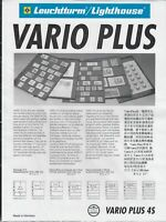 Lighthouse Vario Plus 4S Stamp Album Pages - 4 Rows - Pack Of 5 Black Sheets