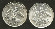 1945 & 1946 SIXPENCE- GEORGE VI  - BRILLIANT UNCIRCULATED - FULLY MINT BLOOM