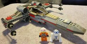 "LEGO Star Wars 7140 X-Wing Starfighter - 80% - Minifigs - ""Glued"" - As Is"